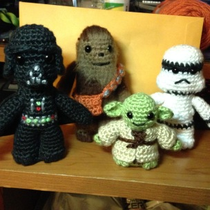 Darth Vader, Chewie, Yoda, and a Storm Trooper